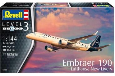 Plastic ModelKit letadlo 03883 - Embraer 190 Lufthansa New Livery (1:144)