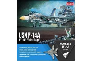 "Model Kit letadlo 12563 - USN F-14A ""VF-143 Pukin Dogs"" (1:72)"